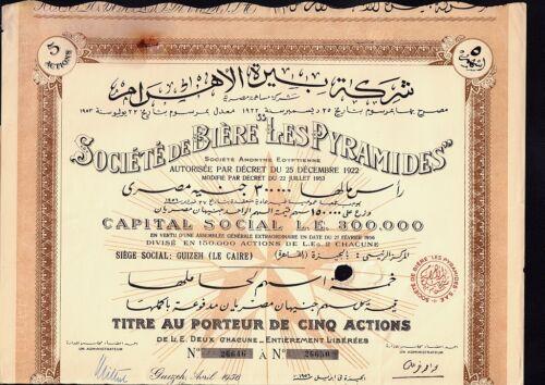 EGYPT BEER : Soc. de Biere Les Pyramids 5 shares Gizeh dd 1956