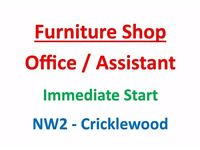 Furniture Shop - NW2 Cricklewood - Sales / Admin/ Assistant
