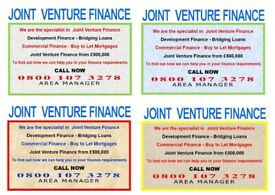 Joint Venture Finance 100% Funding Available
