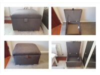BRAND NEW BROWN OR GREY FABRIC STORAGE FOOTSTOOL / POUFFE CAN DELIVER