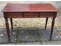 Antique Victorian Mahogany Desk Writing Console Table 3 Drawer