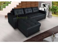 **7-DAY MONEY BACK GUARANTEE!** Barcel Universal Leather Corner Sofa and Sofabed with Storage