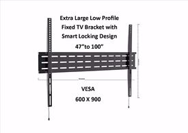 """TV Bracket Extra Large Low Profile with Smart Locking 47"""" TO 100"""" SKY PC IPHONE NEW"""