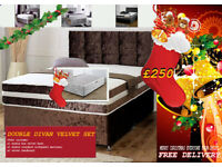 FREE DELIVERY FOR CHRISTMAS***BRAND NEW VELVET DIVAN BED SETS, AVILABLE IN VARIOUS COLOURS