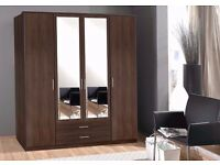 BRAND NEW GERMAN OSAKA 4 DOOR WARDROBE IN WALNUT AND WHITE COLOURS -- SAME DAY FAST DELIVERY