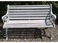 GARDEN BENCH SEAT - CAST IRON ENDS - WOODEN SLATS CHAIR WOOD FURNITURE