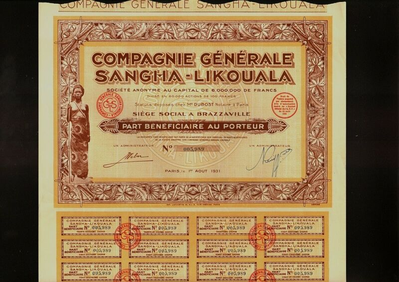 AFRICA CONGO Compagnie Gen. Sangha-Likouala Brazzaville 1931 Semi Nude Warrior