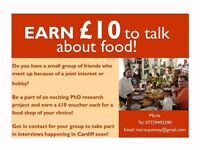 Talk about food and get £10! Paid research participants needed for interviews.