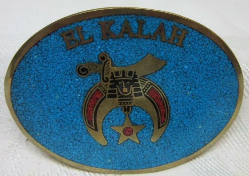 EL KALAH SHRINER, Masonic,  Dark Turquoise BELT BUCKLE,  Dynabuckle Co,