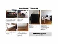 Sofa-Bed, Bed Frame & Mattress, Chest of Drawers, Table & Chairs in very good condition