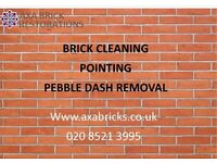 BRICK CLEANING,pointing,PEBBLE DASH REMOVAL,Damaged bricks replaced,BRICK PAINT REMOVAL,Render rmvd