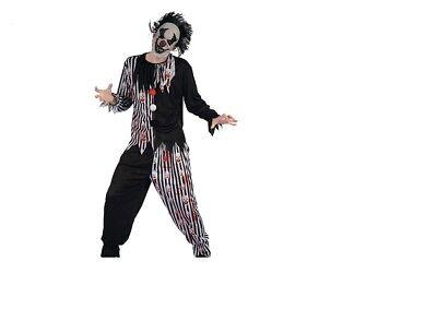 beängstigender Horror Clown Halloween Herrenkostüm komplett Gr.S  Karneval NEU