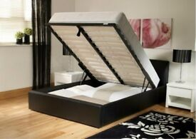 SUMMER SALE*BRAND NEW-Double ottoman Storage Leather Bed With Deep Quilted Mattress