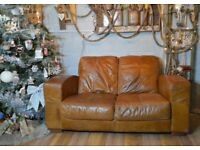 Chesterfield Vintage Distressed Leather Sofa Couch 2 Seater Brown