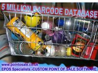 5 million barcode database epos pos till software with full license stock control sales reports