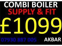 combi boiler supply & installation £1099, MEGAFLO, back boiler removed, FULL PLUMBING, VAILLANT BAXI
