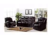 Brand New Leather Suite Black Only with reclining Chairs