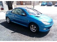 Peugeot 206cc, 12 months MOT, new breaks and break pads, engine has been carbon cleaned