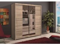 BRAND NEW WARDROBE, BIG, STYLISH, CHEAP, STORAGE, MIRROR, SLIDING DOORS, HOME DELIVERY AVAILABLE!