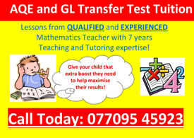 AQE TUTOR/GL TRANSFER TEST TUITION and GCSE MATHS TUTOR/QUALIFIED TEAC