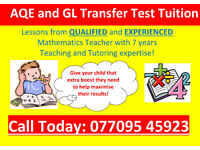 AQE TUTOR/GL TRANSFER TEST TUITION and GCSE MATHS TUTOR/QUALIFIED TEACHER