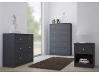 Solid Grey Chest Of Drawers 5 Drawer Cabinet Bedside Bedroom Storage Space Saver