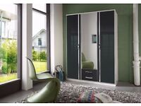 HIGH GLOSS 3 DOOR WARDROBE AND 4 DOOR WARDROBE AVAILABLE IN BLACK AND WHITE COLOUR