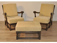 Pair Of Vintage Ercol Old Colonial Elm Fireside Armchairs & Stool New Upholstery