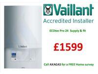 £1599 Vaillant eco tec pro 24 combi boiler supply & installation, MEGAFLO, back boiler removed,