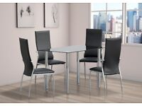 Glass Dining Table Set with 4 Chairs Chrome Legs