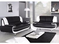 BRAND NEW CAROL BLACK & WHITE BLACK & RED BROWN & CREAM FAUX LEATHER CORNER SOFA FAST DELIVERY COUCH