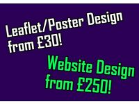 Website design / Leaflet design / Business Card design / Menu design / Wedding invites