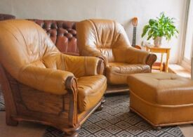 Solid OAK Armchair PAIR with POUFFE. leather seating. FREE LOCAL DELIVERY