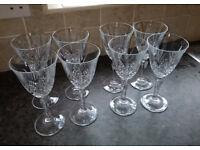 Set of 8 lead crystal wine glasses