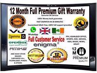 12 MONTHS BEST WARRANTY GIFT OPENBOX/SKYBOX,ZGEMMA,VU+IBOX,TECHNO,UK NO1 GIFT WARRANTY BOXOFFICE NO1