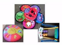 From 3mths Baby Items - Lamaze Spin & Play, Sit or Lie and Play