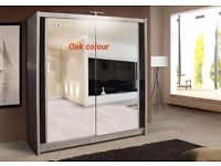 CHICAGO 150 CM SLIDING MIRRORS WARDROBE WITH LED LIGHT AVAILABLE IN 5 COLORS **EXCLUSIVE DESIGN**
