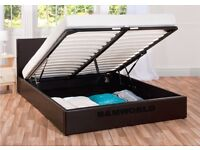 ★★ EXTRA STORAGE ★★ OTTOMAN GAS LIFT UP DOUBLE BED BLACK OR BROWN WITH MATTRESS - VERY STURDY FRAME