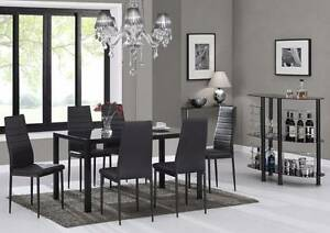 CHEAP GLASS DINING TABLE 6 BLACK OR WHITE PU LEATHER  SET WOODEN Hoppers Crossing Wyndham Area Preview