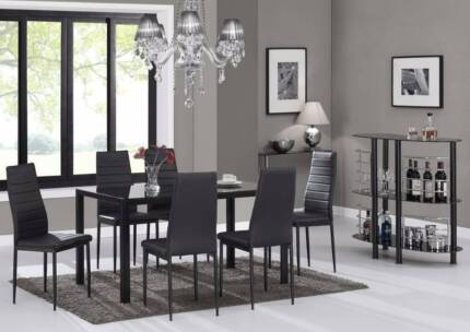 CHEAP GLASS DINING TABLE 6 BLACK OR WHITE PU LEATHER  SET WOODEN