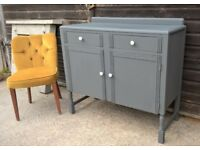 Stunning Antique Oak Hallway Sideboard in Vintage Grey by CWS *FREE DELIVERY* (mid century)
