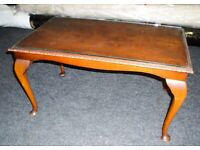 Early 1960s vintage Queen Anne style coffee table with glass top