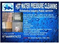Driveway patio hot water power washing jet wash cleaning pressure washing