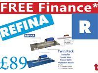 "REFINA Superflex Trowel14"" & 16"" CORK Grip Speed Skim & 2 wallet Leather"