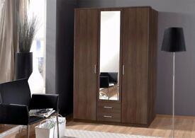 🔶🔷Brand New🔶🔷 3 DOOR OSAKA WARDROBE IN WHITE AND WALNUT COLORS WITH MIRROR