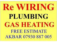 REWIRING,GAS SAFE HEATING, PLUMBING,BOILER INSTALLATION,MEGAFLO,LEAK REPAIR