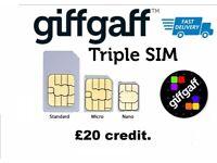 giffgaff sim card £20 credit