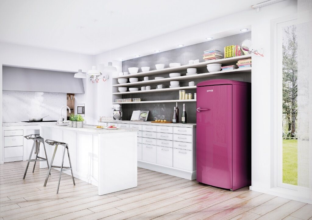 brand new gorenje 60cm a freestanding retro fridge with ice box freezer raspberry pink purple. Black Bedroom Furniture Sets. Home Design Ideas