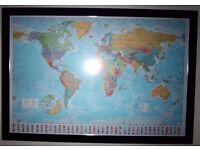 Framed world map picture