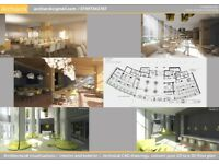 Architectural visualization/ interior and exterior /, technical CAD drawings/Low Cost